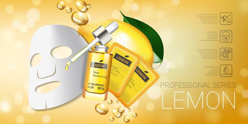 Annunci della maschera di cura di pelle del limone Vector l'illustrazione con il limone che imbianca la maschera e l'imballaggio illustrazione vettoriale