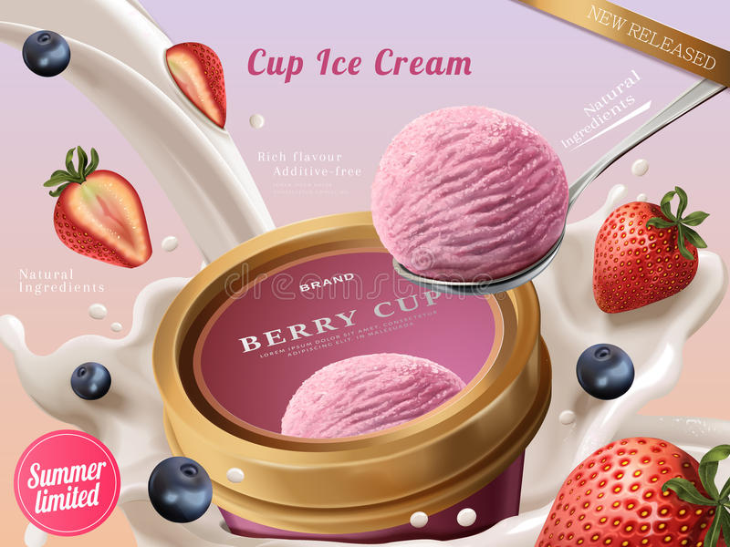 Annunci della tazza del gelato della bacca illustrazione di stock