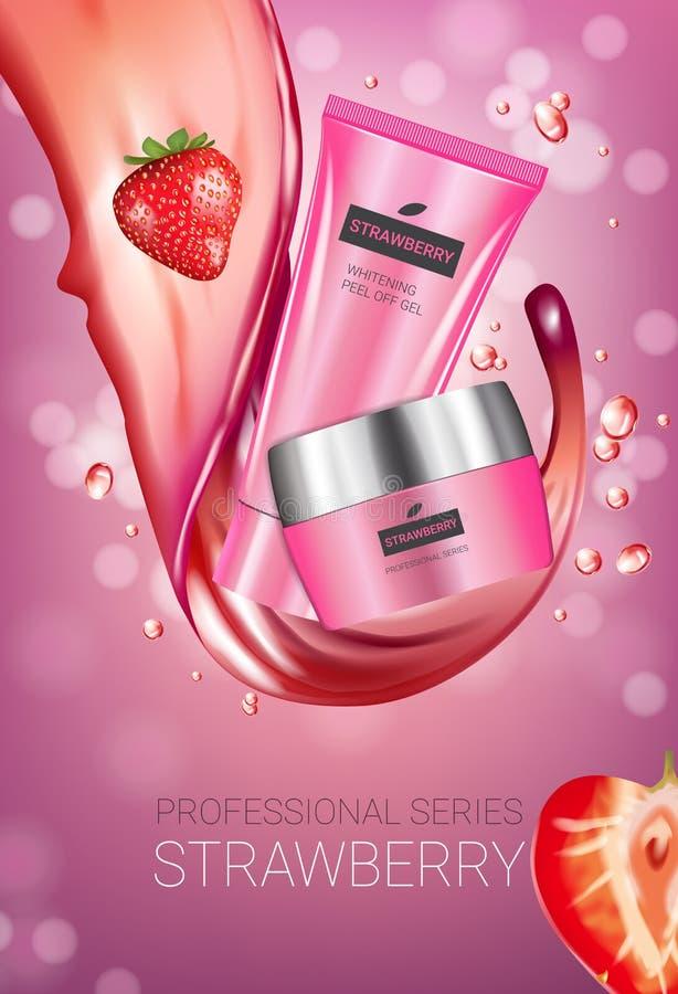 Annunci di serie di cura di pelle della fragola Vector l'illustrazione con la fragola che liscia il tubo ed il contenitore crema illustrazione di stock