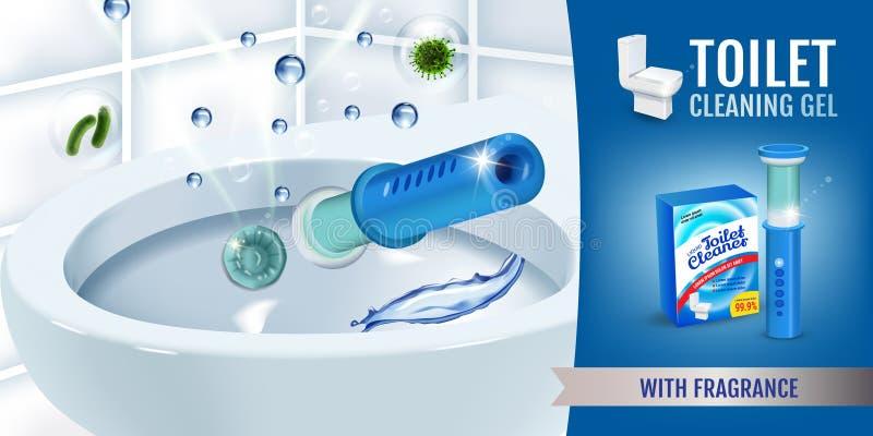 Annunci freschi del disco del gel del pulitore della toilette di fragranza Vector l'illustrazione realistica con i dischi dell'er illustrazione vettoriale