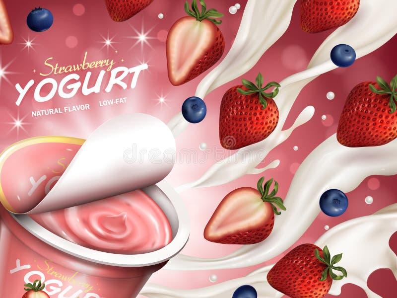Annunci fruttati del yogurt illustrazione di stock