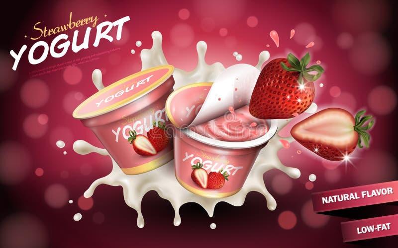 Annunci fruttati del yogurt royalty illustrazione gratis
