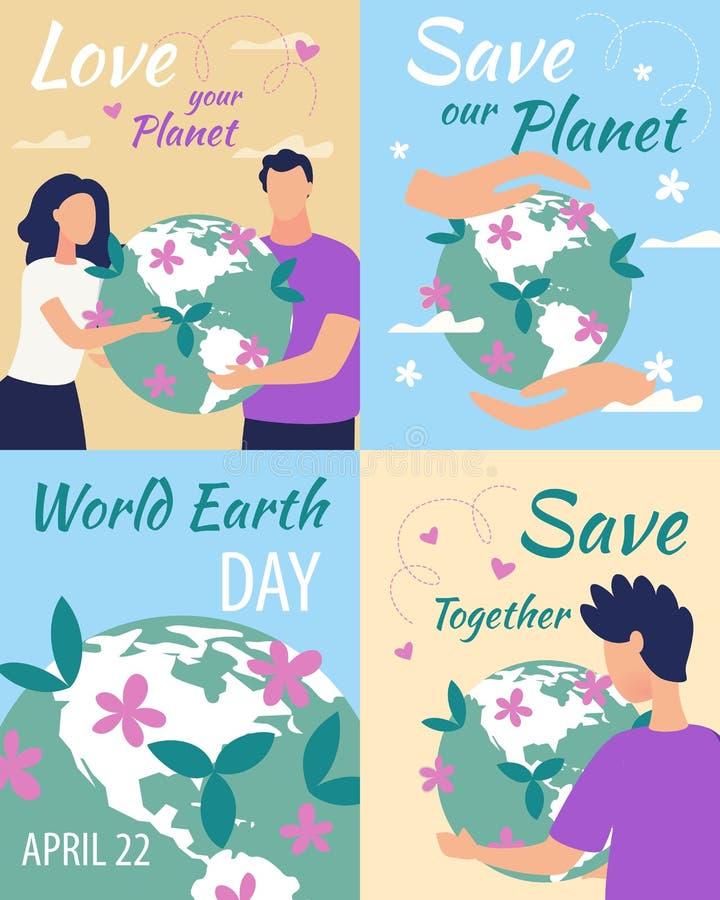 Annunciando amore dell'iscrizione del manifesto il vostro pianeta royalty illustrazione gratis