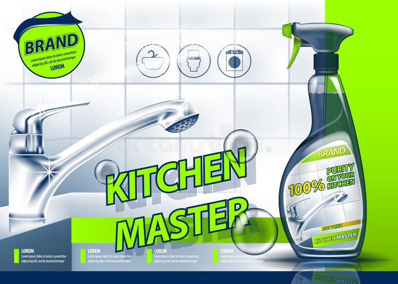 Annunciando i mezzi per la pulizia impianto idraulico e della cucina Immagine realistica royalty illustrazione gratis