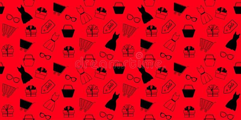 Annunciando modello senza cuciture alla vendita di Black Friday con l'abbigliamento e gli accessori del ` s delle donne per compe royalty illustrazione gratis