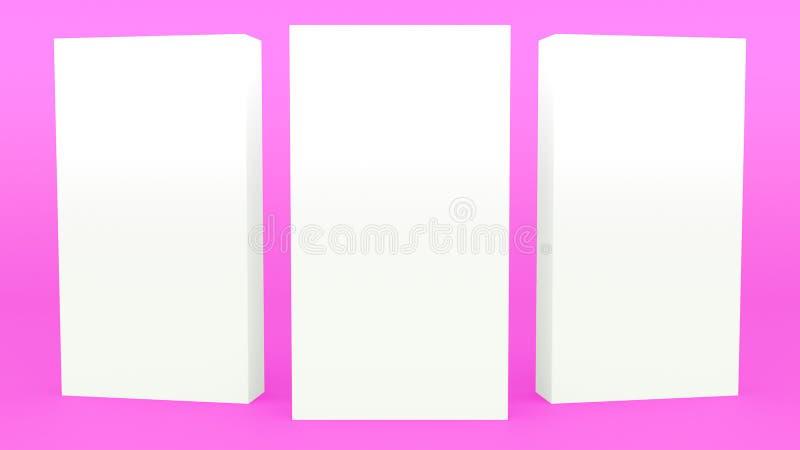 Annunciando porpora 3d minimo dell'insegna del supporto che rende derisione minimalistic moderna su, modello in bianco, vetrina v illustrazione di stock