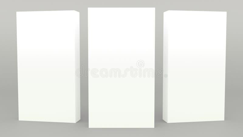 Annunciando scena grigia 3d minimo dell'insegna del supporto che rende derisione minimalistic moderna su, modello in bianco, vetr royalty illustrazione gratis