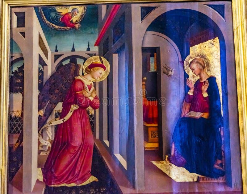 Annunciation άγγελος Mary που χρωματίζει την εκκλησία Φλωρεντία Ιταλία της Σάντα Μαρία Novella στοκ εικόνες