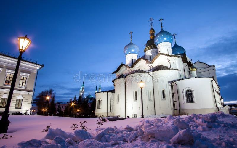 Annunciation καθεδρικός ναός Kazan Κρεμλίνο ενάντια στο θολωμένο ουρανό το χειμώνα 5 στοκ εικόνα με δικαίωμα ελεύθερης χρήσης