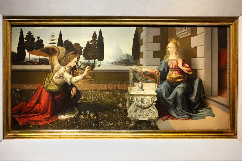 Annunciation, που χρωματίζει από το Leonardo Da Vinci στοκ φωτογραφία με δικαίωμα ελεύθερης χρήσης