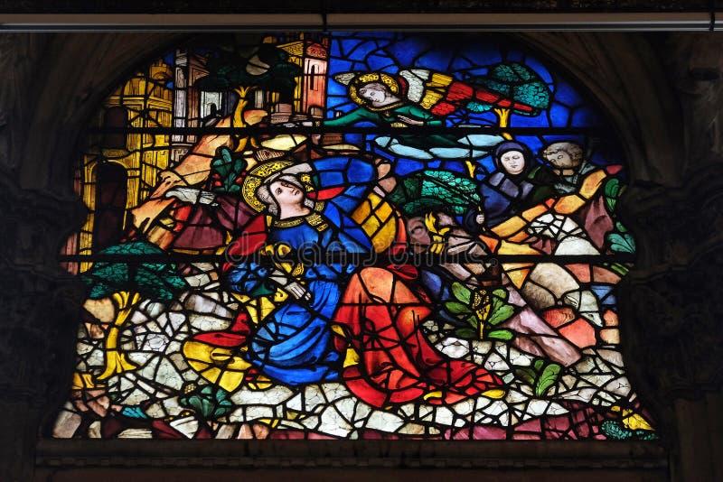 Annunciation στο Joachim, λεκιασμένο παράθυρο γυαλιού στην εκκλησία Orsanmichele στη Φλωρεντία στοκ εικόνες