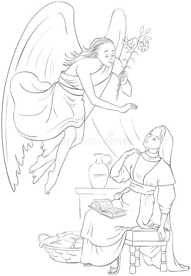 annunciation Anúncio de Angel Gabriel a Mary da encarnação de Jesus ilustração stock
