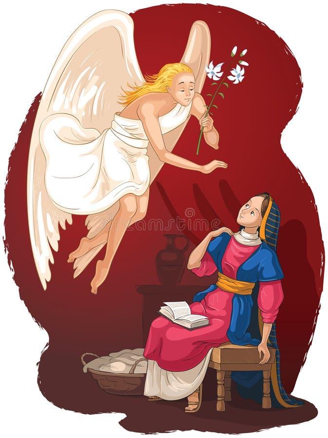 annunciation Anúncio de Angel Gabriel a Mary da encarnação de Jesus ilustração royalty free