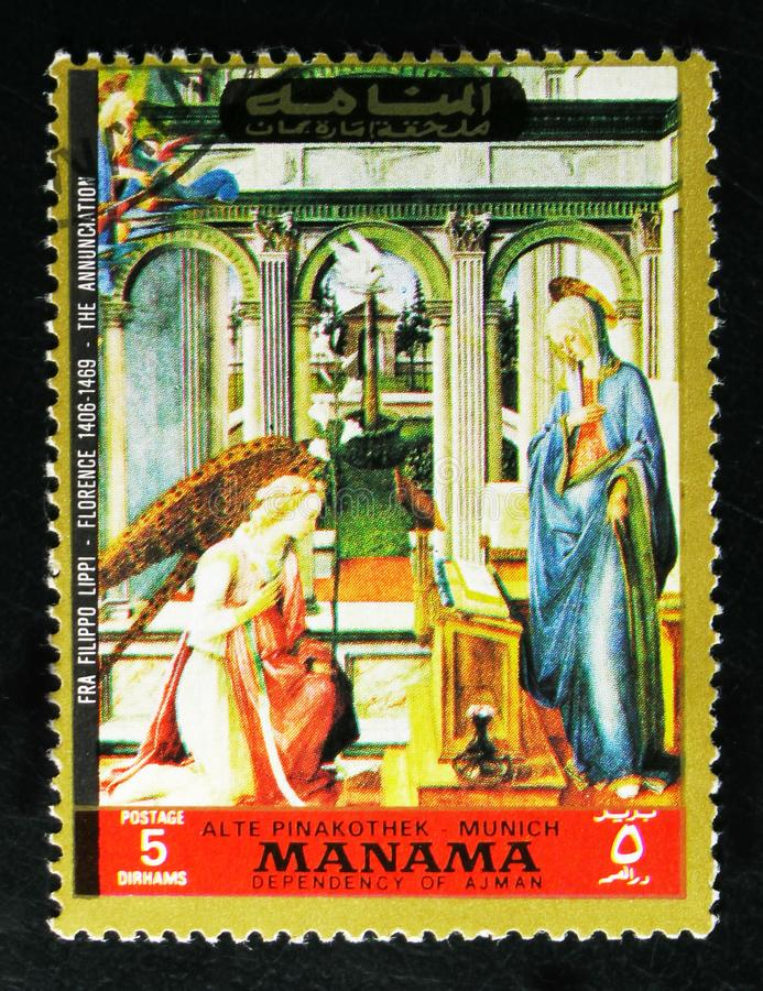 Annunciation; by Frau Filippo Lippi 1406-1469, Paintings from the Old Pinakothek, Munich serie, circa 1972. MOSCOW, RUSSIA - OCTOBER 1, 2017: A stamp printed in royalty free stock photography
