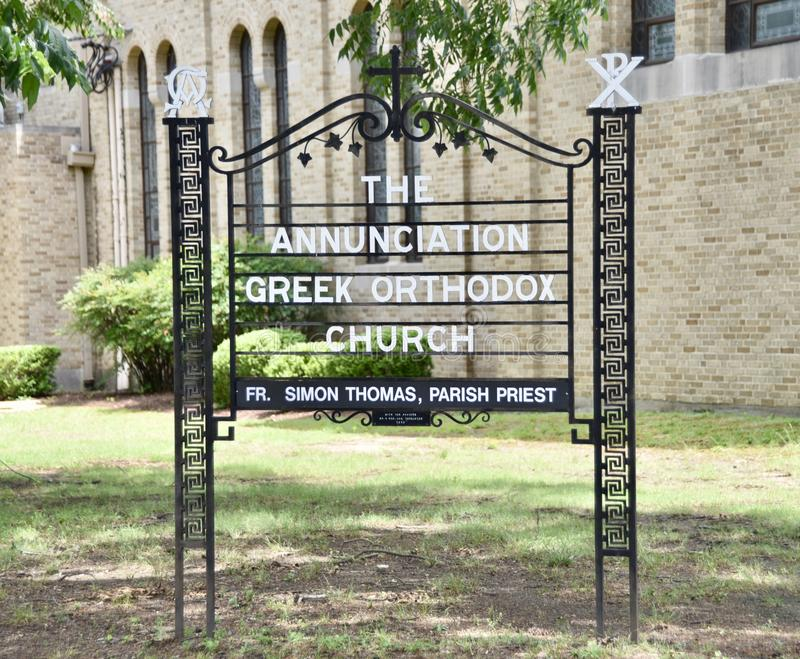 The Annunciation Greek Orthodox Church Sign, Memphis, TN. The wonderful Annunciation Greek Orthodox Church located at 573 North Highland holds the regular royalty free stock photos