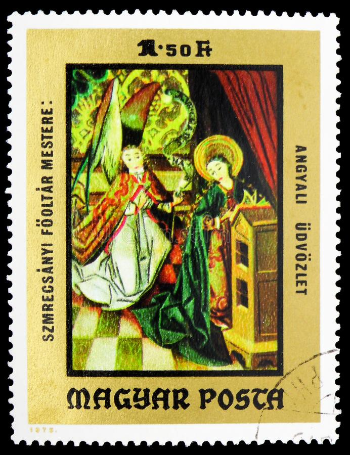 Annunciation, Paintings from Christian Museum, Esztergom serie, circa 1973. MOSCOW, RUSSIA - FEBRUARY 10, 2019: A stamp printed in Hungary shows Annunciation stock photo