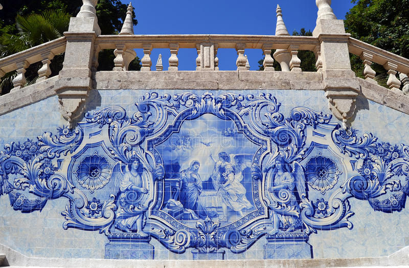 Annunciation scene azulejo vintage tiles stock photos