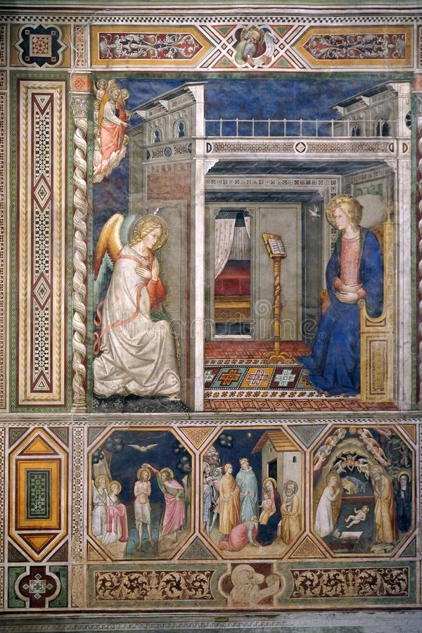 Annunciation to the Virgin Mary, Baptism of the Christ, Nativity by Pietro di Miniato, Santa Maria Novella church in Florence. Annunciation to the Virgin Mary royalty free stock photography