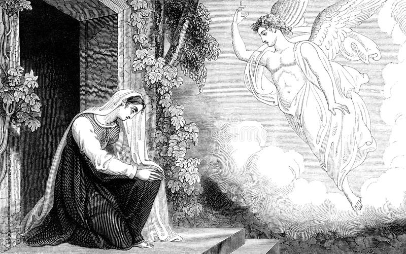 Annunciation to the Virgin Mary. An engraved vintage illustration image of the annunciation to the Virgin Mary of the birth of Jesus, by R. Westall from a stock illustration
