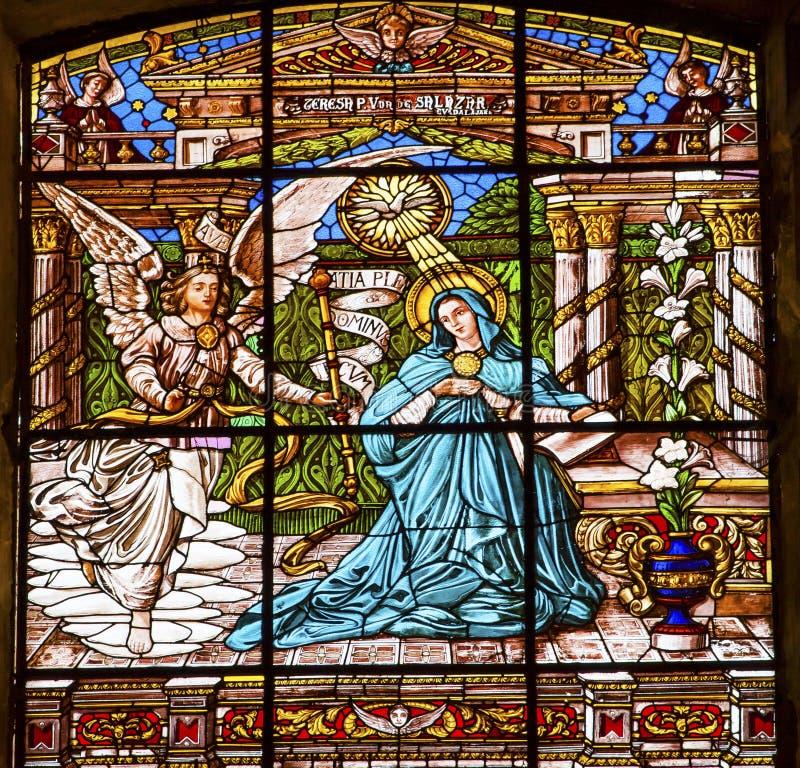 Annunciation witrażu Stara bazylika Guadalupw Meksyk Meksyk zdjęcie stock