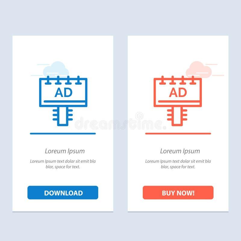 Annuncio, bordo, pubblicità, blu dell'insegna e download rosso ed ora comprare il modello della carta del widget di web royalty illustrazione gratis