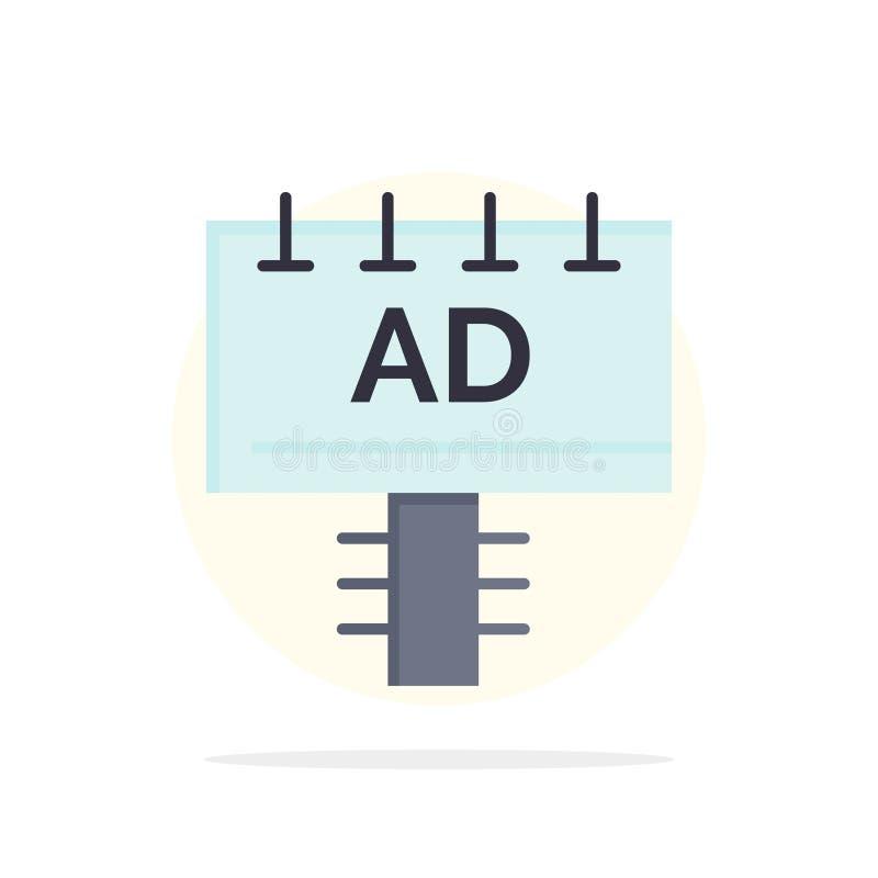 Annuncio, bordo, pubblicità, icona piana di colore del fondo del cerchio dell'estratto dell'insegna royalty illustrazione gratis
