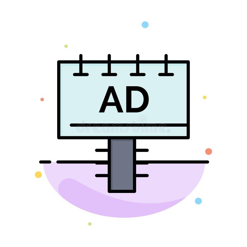 Annuncio, bordo, pubblicità, modello piano dell'icona di colore dell'estratto dell'insegna illustrazione vettoriale