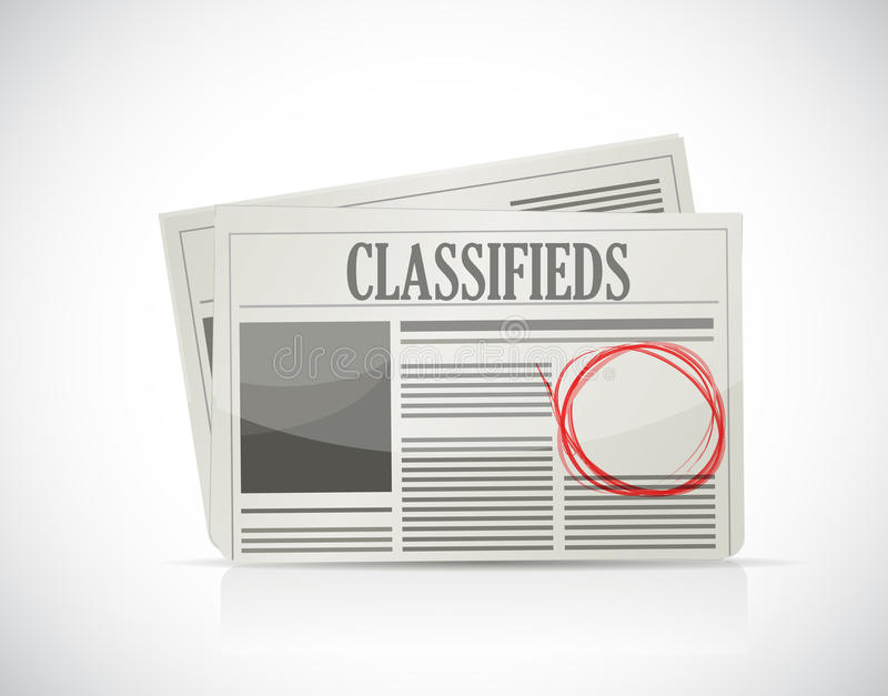 Annuncio classificato, giornale, concetto di affari. illustrazione di stock