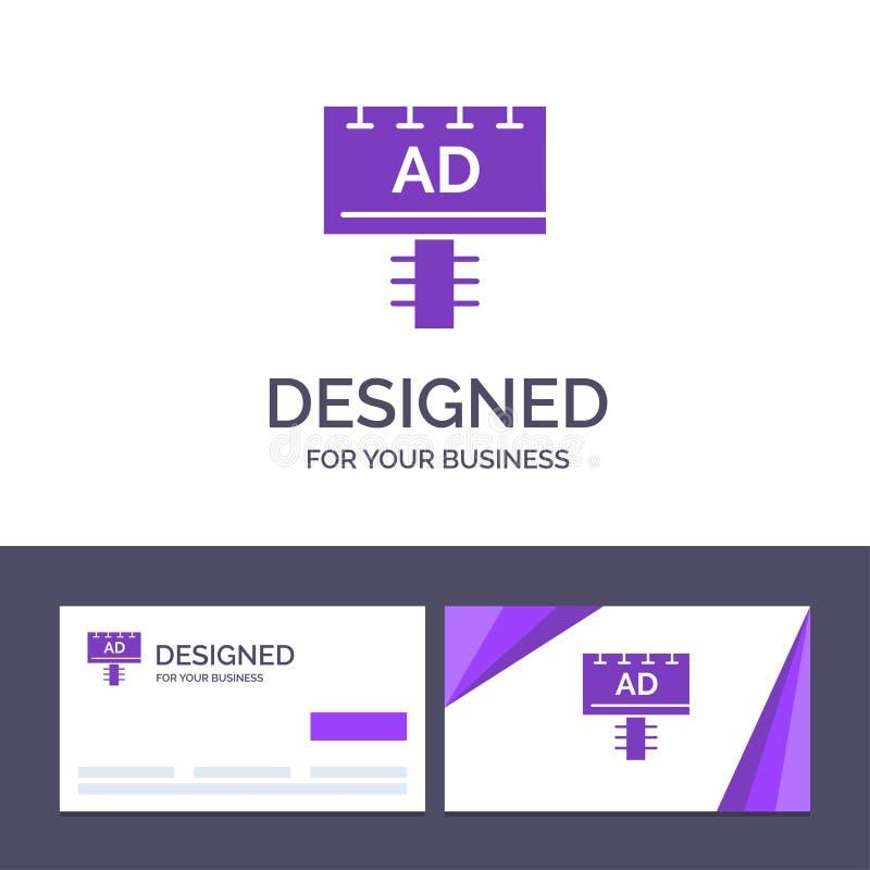 Annuncio del modello creativo di logo e del biglietto da visita, bordo, pubblicità, illustrazione di vettore dell'insegna royalty illustrazione gratis