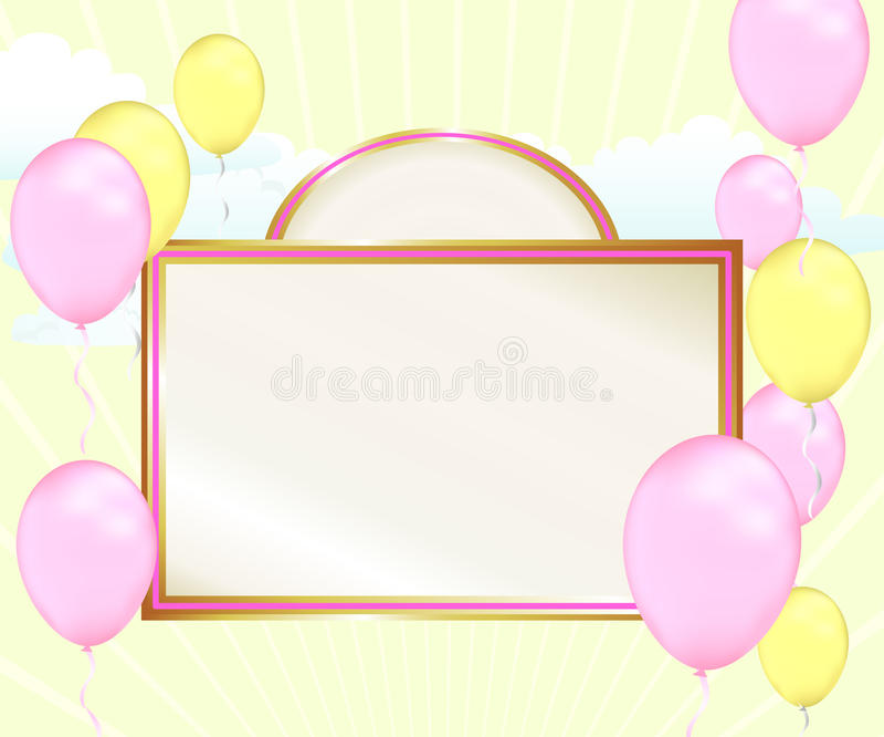 Annuncio dell'aerostato della neonata illustrazione di stock