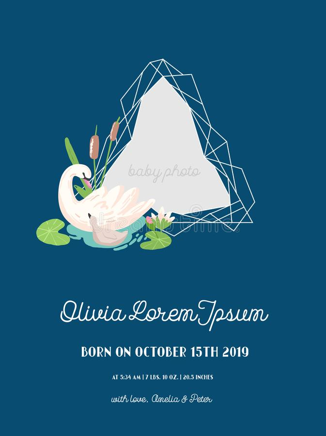 Annuncio di arrivo del bambino con l'illustrazione struttura di bella foto della geometria e del cigno, saluti o carta dell'invit illustrazione di stock