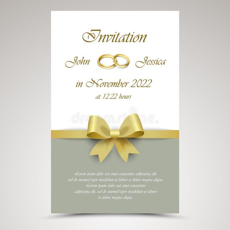 Annuncio di nozze con il nastro e gli anelli dell'oro illustrazione vettoriale