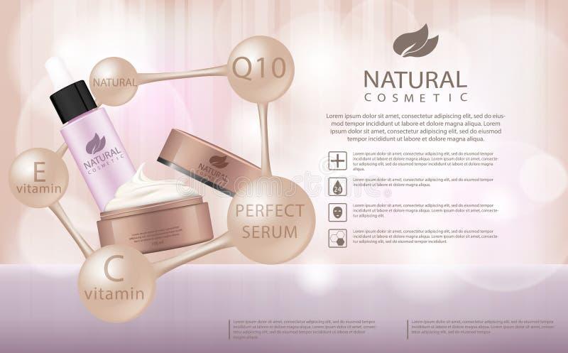 Annuncio di prodotti cosmetico d'idratazione, fondo beige del bokeh del llight con la bella illustrazione dei contenitori 3d illustrazione vettoriale