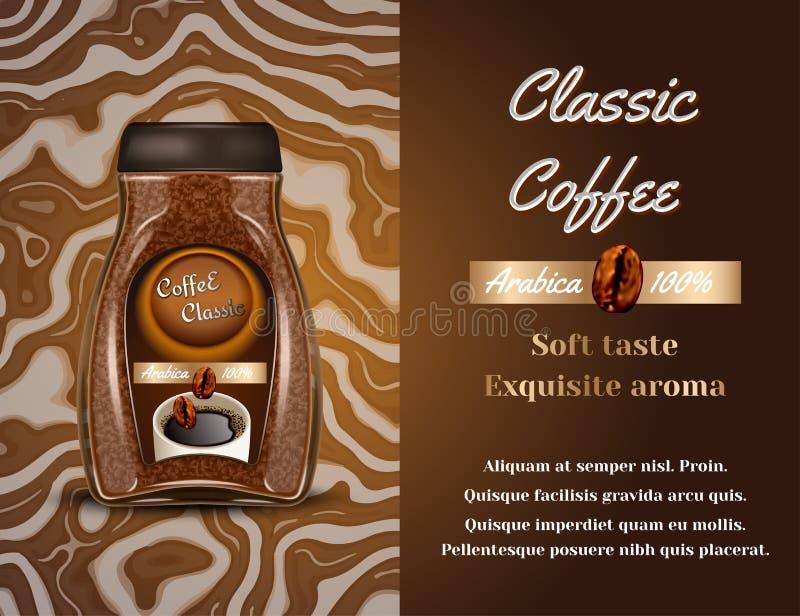 Annuncio di prodotti del caffè Illustrazione di vettore 3d Progettazione del modello della bottiglia del caffè istantaneo Pubblic illustrazione vettoriale