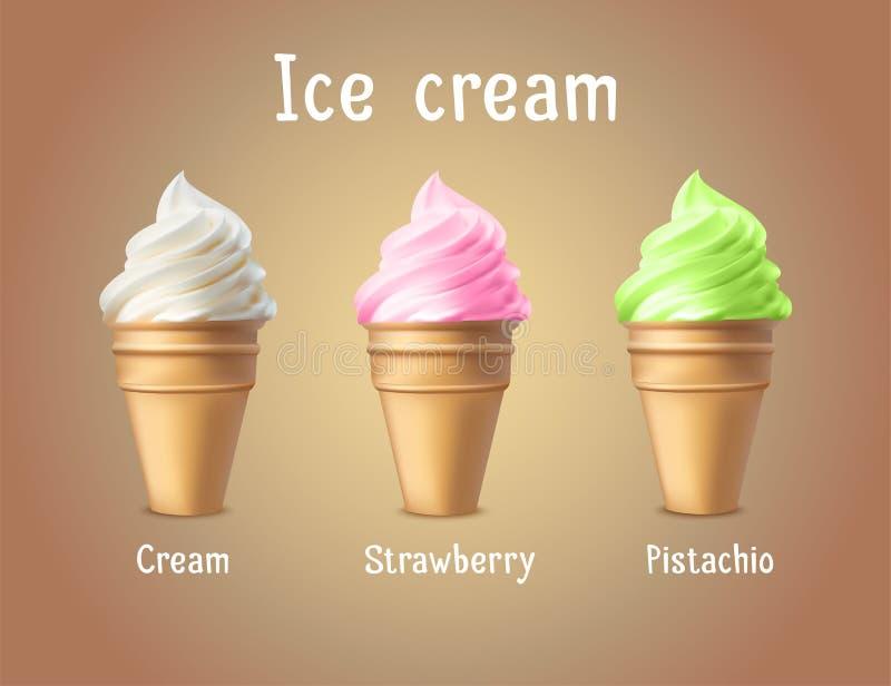 Annuncio di prodotti del gelato Illustrazione di vettore 3d Progettazione del modello dei coni gelati Disposizione del manifesto  illustrazione vettoriale