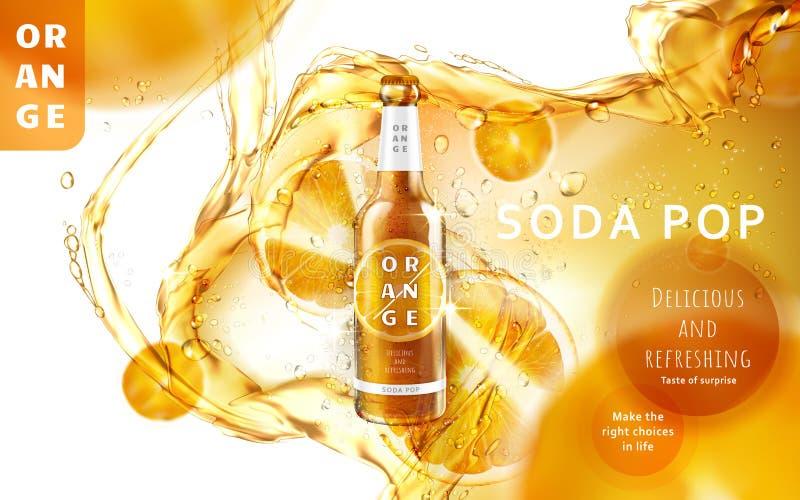 Annuncio di schiocco di soda arancio royalty illustrazione gratis