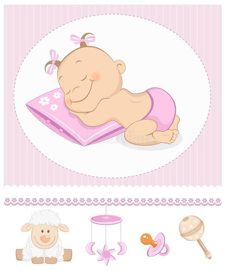 Annuncio dolce di arrivo della ragazza di sonno illustrazione vettoriale