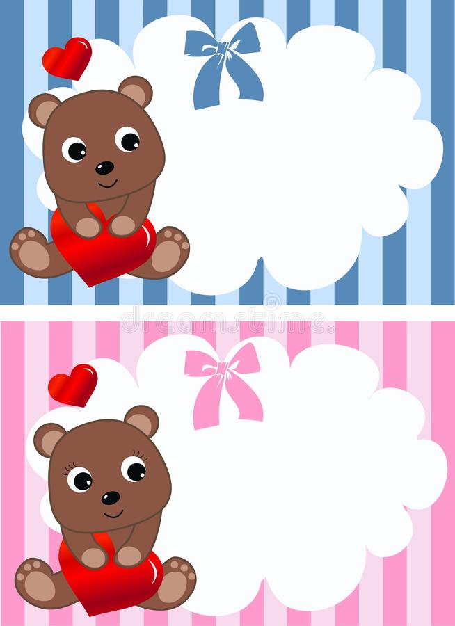 Annuncio o compleanno del bambino illustrazione di stock