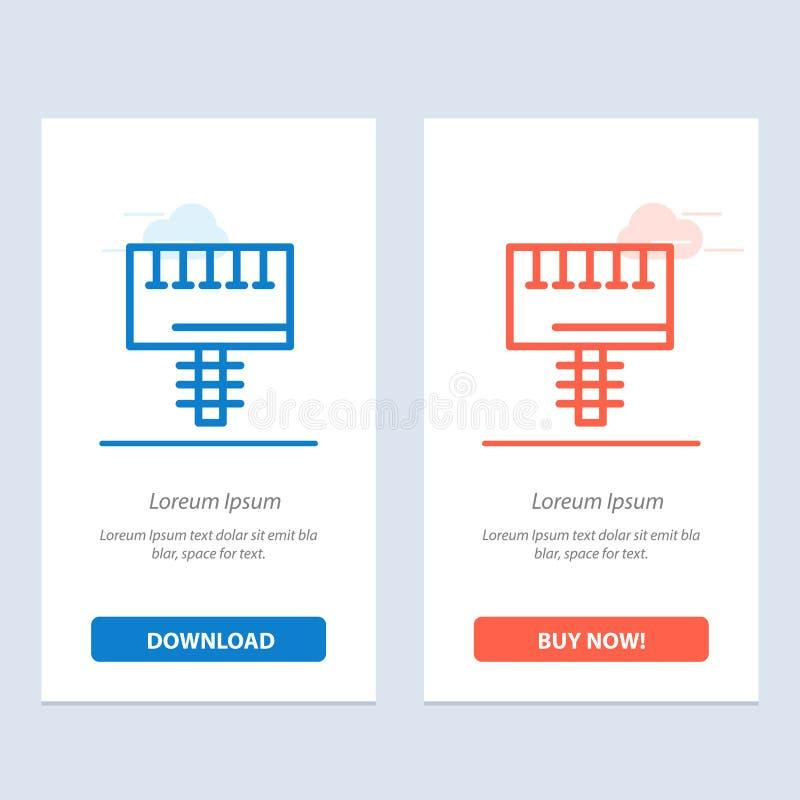 Annuncio, pubblicità, bordo, blu dell'insegna e download rosso ed ora comprare il modello della carta del widget di web illustrazione vettoriale
