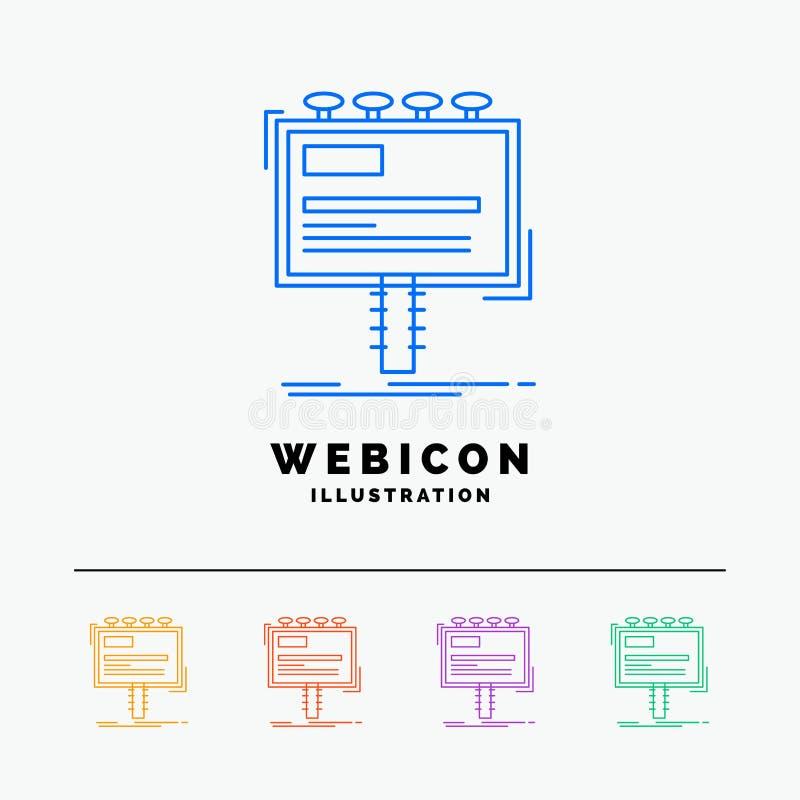 annuncio, pubblicità, pubblicità, tabellone per le affissioni, linea di colore di promo 5 modello dell'icona di web isolato su bi illustrazione vettoriale