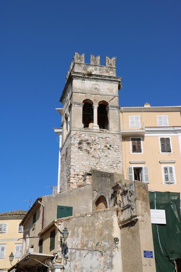 Annunziata в городке Корфу, Греции стоковые изображения rf