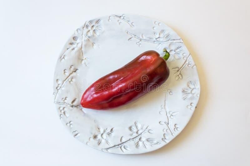 Annuum Cubanelle för stor röd mogen paprika peppar, kubansk peppar, Ita arkivbilder