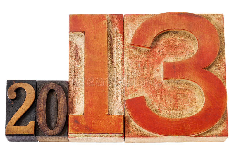 Ano 2013 no tipo de madeira imagens de stock royalty free