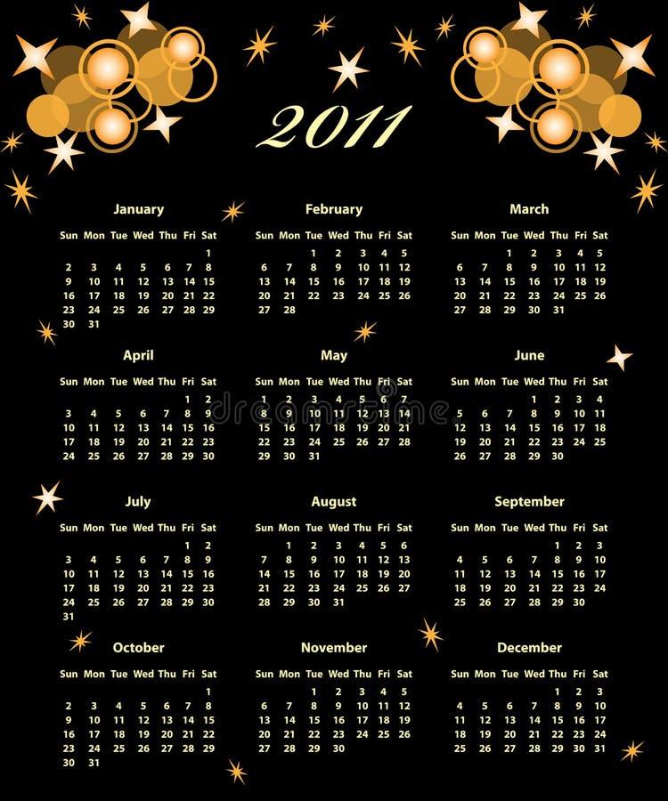 Ano cheio de 2011 calendários ilustração do vetor