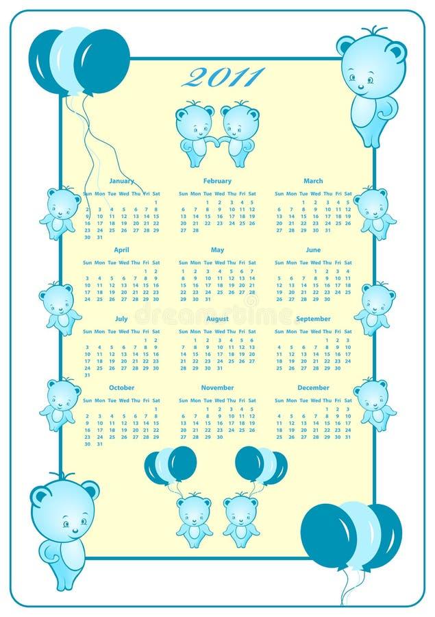 Ano cheio de 2011 calendários ilustração stock