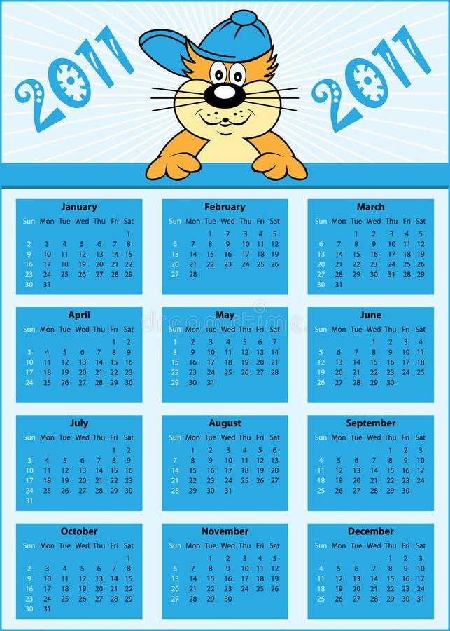 Ano cheio do calendário 2011 ilustração royalty free