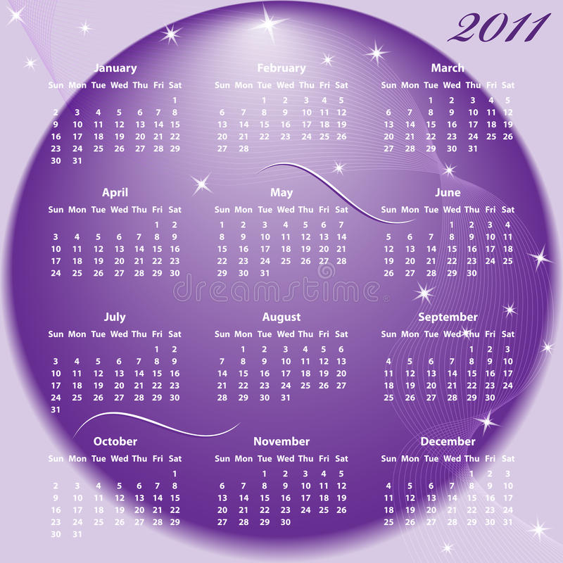 Ano cheio do calendário 2011 ilustração stock