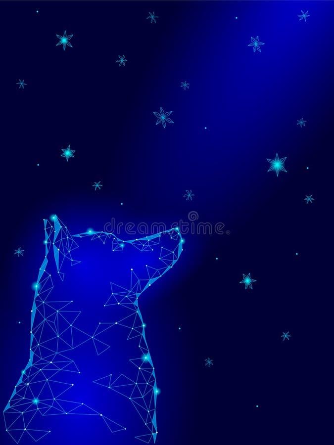 Ano chinês novo feliz de cão Laika que senta-se olhando acima flocos de neve geométricos do céu stars o sonho da esperança da noi ilustração royalty free