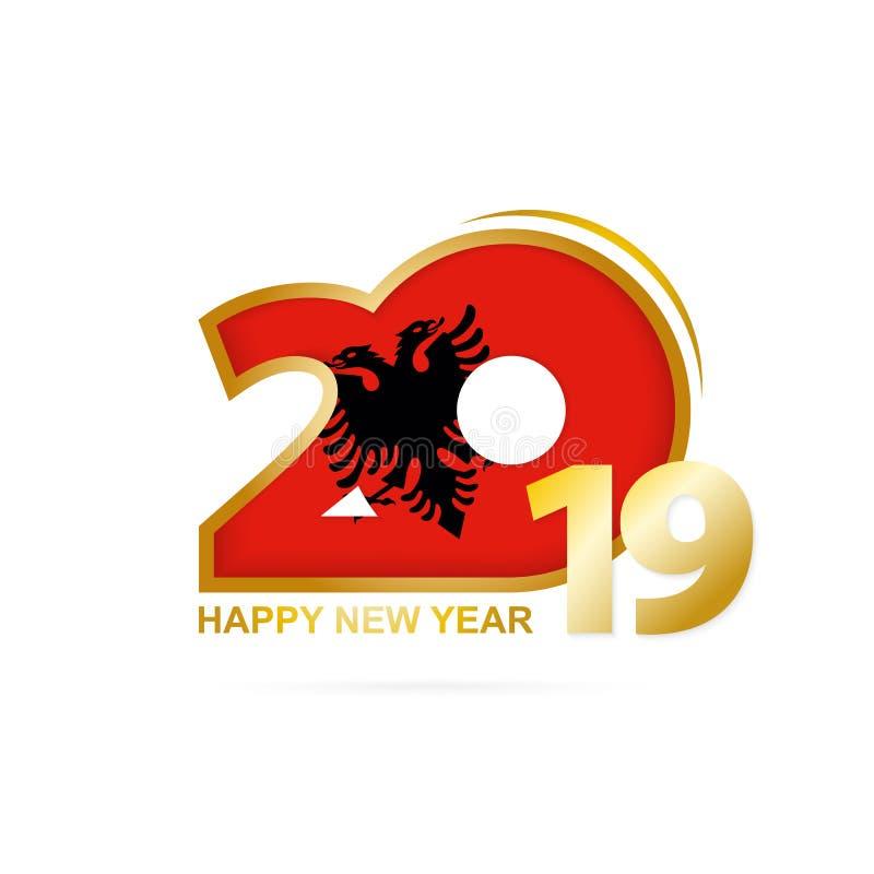 Ano 2019 com teste padrão da bandeira de Albânia Projeto do ano novo feliz ilustração royalty free