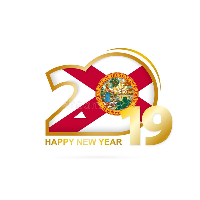 Ano 2019 com teste padrão da bandeira de Florida Projeto do ano novo feliz ilustração royalty free
